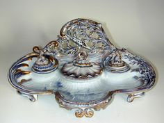 Emile Galle ceramic inkwell (France 1880)  EMILE GALLÉ (1846-1904)