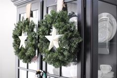 double wreaths with stars for front door