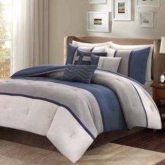 MICROSUEDE: Home Essence Overland 7pc Bedding Comforter Set  Includes comforter, 2 shams, bed skirt and 3 decorative pillows