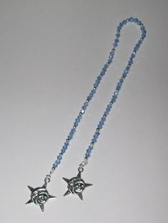 Sun & Moon Face Sky Blue Swarovski Crystal & Tibetan Silver Artisan Crafted Book Thong Bookmark