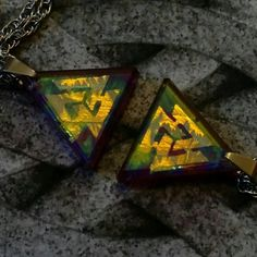 Cold worked dichroic glass jewel by Richard Elvis. Ornamentalglass.Etsy.com