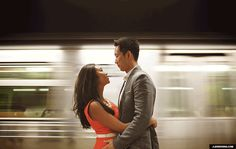 Wedding Cinemagraph: animated GIF of a bride and groom standing on a subway platform while the train whisks on by.  (Jeffrey Lewis Bennett) #weddingideas #weddingphotos #weddinggifs | MagnetStreet.com