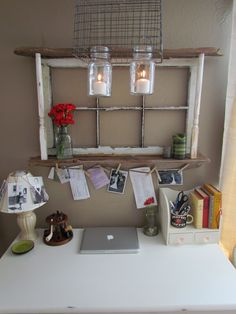 Rustic Living: Our Little Nook - repurposed one window frame, boards, stairwell banisters and even mason jars into reclaimed rustic command center area