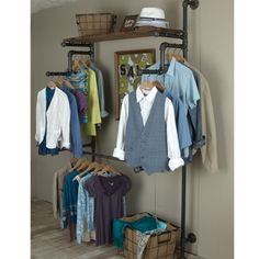 Racks made with pipe and fittings give your closet or laundry room an industrial feel and are extremely durable. Closet Storage, Closet Organization, Baby Storage, Rideaux Design, Galvanized Pipe, Shop Fittings, Pipe Furniture, Furniture Vintage, Industrial Furniture