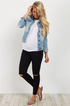 db311a6a1 Black Distressed Fringe Maternity Jean Jeans Para Embarazadas