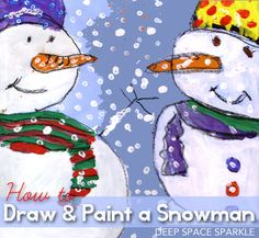 How to draw and paint a three-quarter view snowman. Perfect art projects for Kinder through third grade.
