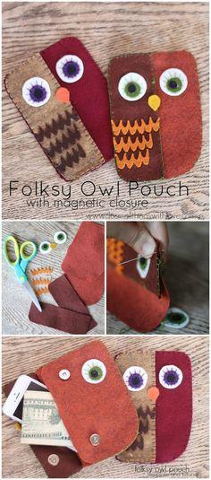 DIY Folksy Owl Pouch
