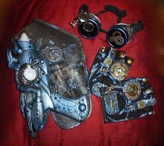 Women's Dieselpunk Accessories- Steampunk, Tardis Cosplay, Comic Con, Doctor Who, Burning Man, Leather Gloves, Vaporizor, Blaster, Goggles
