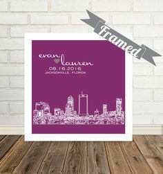 Jacksonville Skyline Personalized Wedding Gift by DefineDesign11