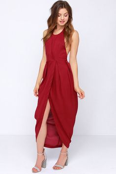 Passion for Fashion Backless Wine Red Maxi Dress - Wear with belt.