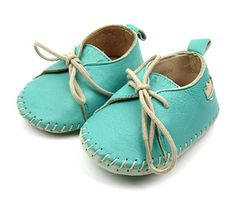 Bleached teal leather mocs