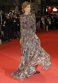 Sarah Jessica Parker in an Elie Saab Fall 2011 printed gown at the Cannes Film Festival