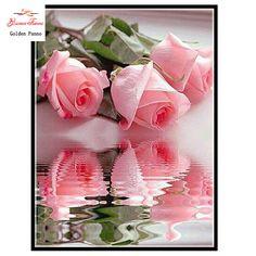 Diamant malerei kit diamant stickerei rosa rose voller blume kreuzstich diamant mosaik handarbeit handarbeit diy