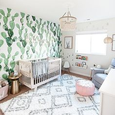 Cactus and Llama Baby Girl Nursery Reveal! - Dwell Beautiful - Check out my cactus and llama baby girl nursery reveal! The perfect combo of feminine, boho, and pl -