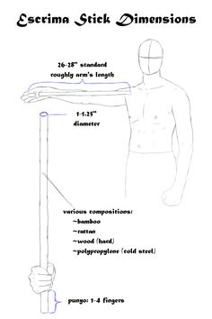 escrima stick dimensions