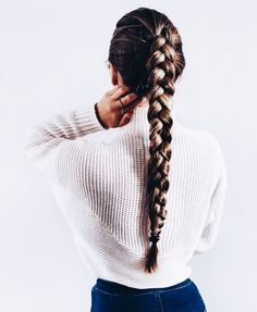 Queue de cheval tresse (single french braid with weave) Braided Hairstyles, Cool Hairstyles, Summer Hairstyles, Hairstyle Braid, Sponge Hairstyles, Cute Hairstyles With Braids, Rihanna Hairstyles, Female Hairstyles, Cute Hairstyles For School