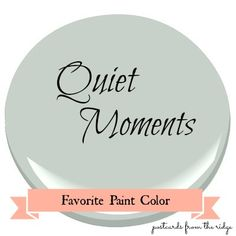 Quiet Moments ༺❀༻ AND. it's a paint color? Favorite Paint Color ~ Benjamin Moore Quiet Moments Quiet Moments is a very soft, muted gray with a hint of blue and a tiny touch of green. Interior Paint Colors, Paint Colors For Home, House Colors, Paint Colours, Paint Decor, Dining Room Paint Colors, Interior Painting, Behr Colors, Wall Decor
