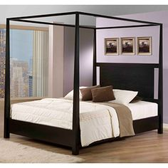 @Overstock - This beautiful California king-sized canopy bed has a contemporary look that is eye-catching and unique. The blocked style is a real attention grabber thanks to its bold look. The black finish will match with many other pieces of furniture easily.http://www.overstock.com/Home-Garden/Napa-Canopy-California-King-Bed/6603059/product.html?CID=214117 $689.99