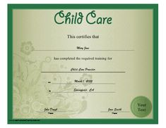 A floral green child care certificate recognizing training in day care, babysitting, or related fields. Free to download and print