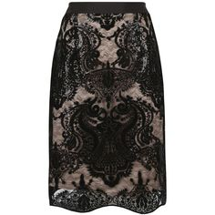 Fenn Wright Manson Petite Galaxy Skirt, Black ($130) ❤ liked on Polyvore featuring skirts, petite, textured skirt, pencil skirt, embroidered skirt, knee length pencil skirt and scalloped skirt