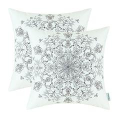 "Set of 2 Euphoria CaliTime Home Decor Cushion Covers Pillows Shell Comfortable Fleece Vintage Mandala Floral Grey Color 18"" X 18"" Euphoria http://www.amazon.com/dp/B014SP7VPY/ref=cm_sw_r_pi_dp_Pxouwb08WZZFW"