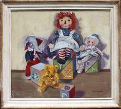 Signed Ethel Yanley 1950s Fantastic Oil - Raggedy Anne Doll Friends $$$