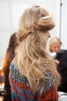 Cute for fall, fishtail braid a tiny section and leave the rest of your hair messy. Perfect look with a sweater, skinny jeans, and boots!