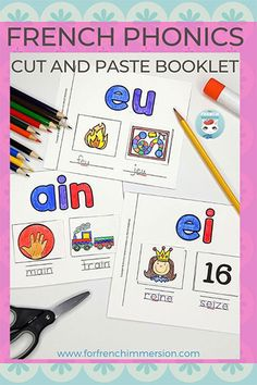 French Sounds Cut and Paste - For French Immersion French Teaching Resources, Teaching Plan, Teaching Math, Primary Teaching, Teaching Reading, Learning French For Kids, French Language Learning, Kids Learning, Learning Spanish