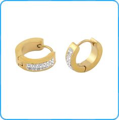 ER05161 Stainless Steel Earrings Fashion Gold Hoop Earrings with Charming Crystals