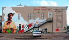 University of Wyoming Art Museum: Laramie Mural Project Advances. Land and Liberty by Talal Cocker. #downtownlaramie #laramiemural