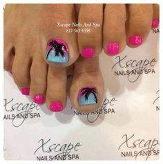 34 ideas for fails design summer beach pink Beach Toe Nails, Summer Toe Nails, Summer Beach Nails, Summer Vacation Nails, Pedicure Nail Art, Pedicure Ideas, Beach Pedicure, Blue Pedicure, Palm Tree Nails