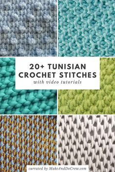 Unique Tunisian Crochet Stitches - with step-by-step video tutorials! The best list of over 20 Tunisian crochet stitches you haven't tried yet, each with a video tutorial. Don't miss these unique Tunisian stitches! Tunisian Crochet Patterns, Crochet Motifs, Crochet Blocks, Crochet Stitches Patterns, Tunisian Crochet Blanket, Crochet Stitches For Blankets, Different Crochet Stitches, Crochet Stitches Free, Doilies Crochet