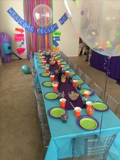 Dreamworks Home Boov Party. Kids Table. Photo Backdrop. Dessert Table. Clear balloons with custom confetti