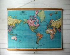 Hanging map diy hanger tutorials and crafty large canvas vintage pull down style school map with oak wood trim world map 1897 gumiabroncs Images