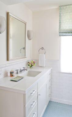 colored glass tile floor/ crisp white ceramic tile on walls - fresh, good for kids bath