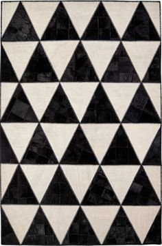 BARBY ROCK modern geometric black & white rug Unique Rugs, Modern Rugs, Black And White Colour, Shades Of Black, Triangle Pattern, Geometric Designs, Neutral Colors, Hand Weaving, Rock