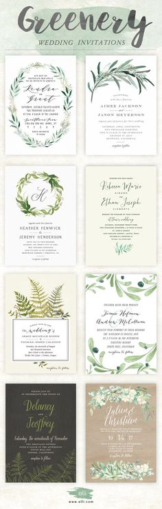 Trending for 2017 - greenery wedding invitations from Elli.com