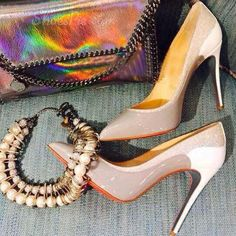 Shoespie Genuine Leather Contrast Glitter Pointed-toe Stiletto Heels