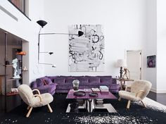 Ultra Violet couch in modern living room