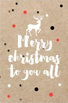Hippe enkele kerstkaart met kraftlook. Met stippen, rendier silhouet, witte tekst en confetti.