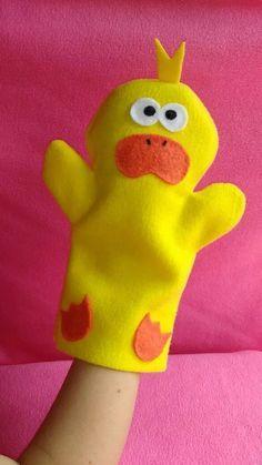 titere manopla pato bebés niños Felt Puppets, Puppets For Kids, Felt Finger Puppets, Hand Puppets, Duck Crafts, Felt Crafts, Diy And Crafts, Puppet Patterns, Felt Patterns