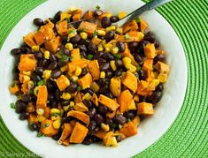 This Sweet Potato, Black Bean and Corn Salad is refreshing yet filling, with plenty of phytonutrients and fiber, and it just plain tastes good! Sweet Potato Chili, Salad With Sweet Potato, Sweet Potato Recipes, Roasted Sweet Potatoes, Corn Salad Recipes, Corn Salads, Black Bean Cookies, Allergy Free Recipes, Cinco De Mayo