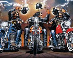 "David Mann moto Biker Easyriders Centerfold Art Poster impression casque protestation vélo Chopper Sturgis Daytona 10.5 ""x 15,75"""