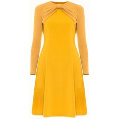 Victor Xenia London - Maria Dress Mustard (7.565 RUB) ❤ liked on Polyvore featuring dresses, drapey dress, drape dress, sleeved dresses, yellow midi dress and yellow sleeve dress