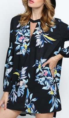 Love the look of this long sleeve floral print dress.