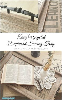 Upcycled DIY repurposed driftwood reclaimed wood picture frame serving tray - great decor idea!