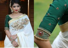 Nupura - Like an untouched pond during rains. Handloom saree enhanced with Krishna embroidery on chest area along with 2 inch gold border all around and white brocade facing worn over with white bottle green round neck blouse, with golden multi color beads highlighted sleeves