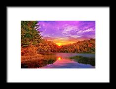 Sunset Deluge Framed Print by Christina Rollo. All framed prints are professionally printed, framed, assembled, and shipped within 3 - 4 business days and delivered ready-to-hang on your wall. Choose from multiple print sizes and hundreds of frame and mat options. New York Sunset, Framed Art, Framed Prints, Sunset Landscape, Gifts For Nature Lovers, Office Art, Frame Shop, Wonderful Images, Clear Acrylic
