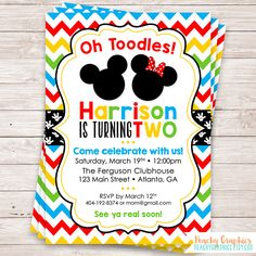 Mickey Mouse Clubhouse birthday invitation with Minnie and Mickey with milticolored chevron