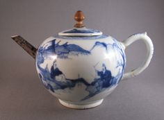 Blue and White China Teapot.  My grandmother brought one like this home from a trip to Denver in the '50's.